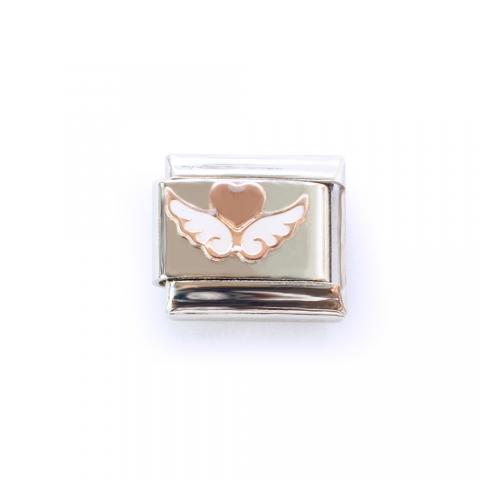 Звено с крылатым сердечком (розовое золото)
