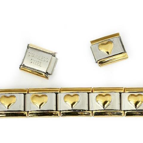 Звено браслета с золотым сердечком