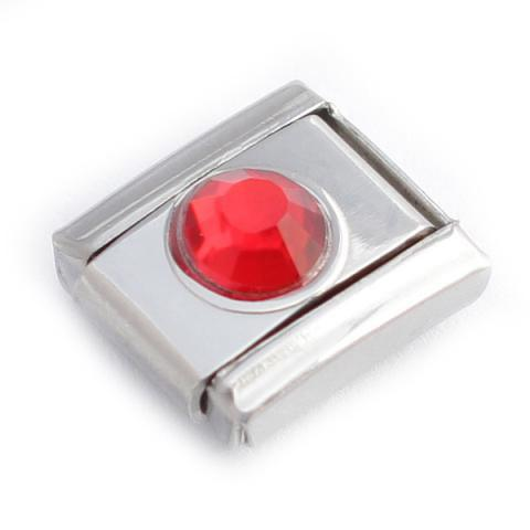Звено браслета Italian Charm с красным кристалликом