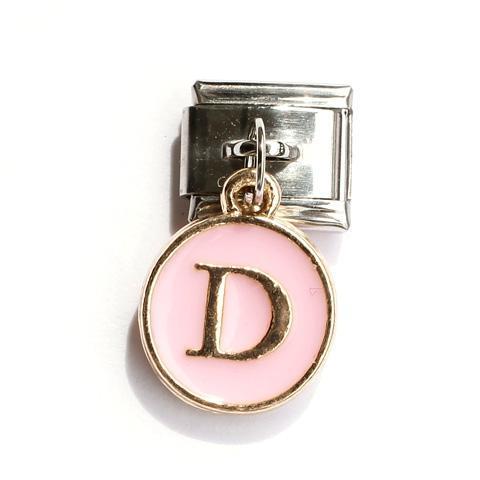 Звено с розовой подвеской с буквой D
