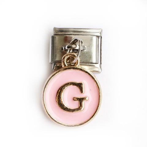 Звено с розовой подвеской с буквой G