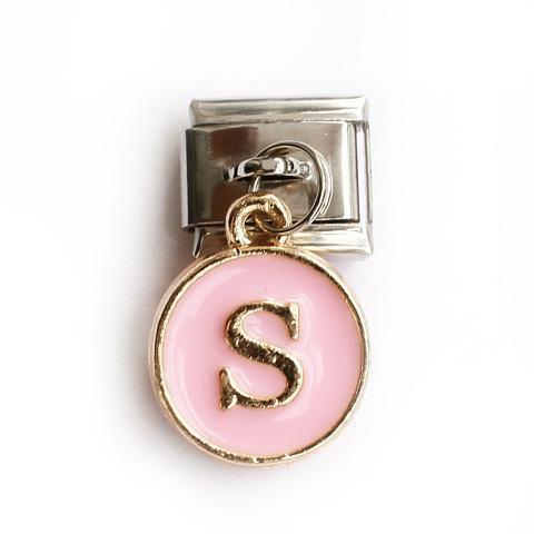 Звено с розовой подвеской с буквой S
