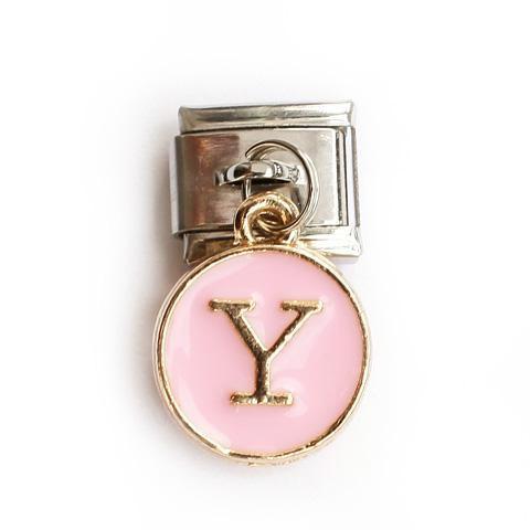 Звено с розовой подвеской с буквой Y
