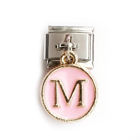 Звено с розовой подвеской с буквой M