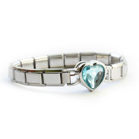 Стартовый браслет с крупным голубым сердечком