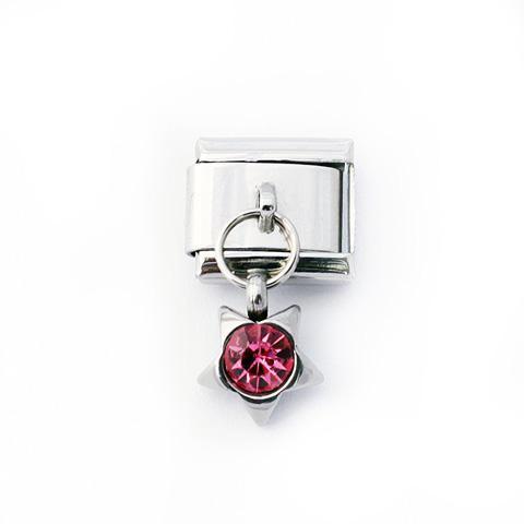 Звено с подвеской звезда с розовым стразом