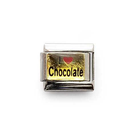 Звено с надписью Люблю шоколад на золотом фоне