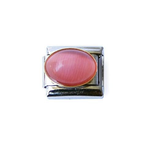 Звено со вставкой розовый кошачий глаз