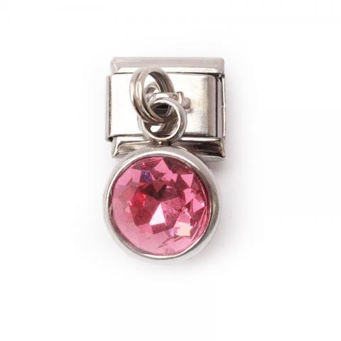 Звено с подвеской - крупным розовым кристаллом