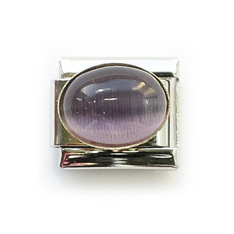 Звено с фиолетовой вставкой с эффектом кошачьего глаза