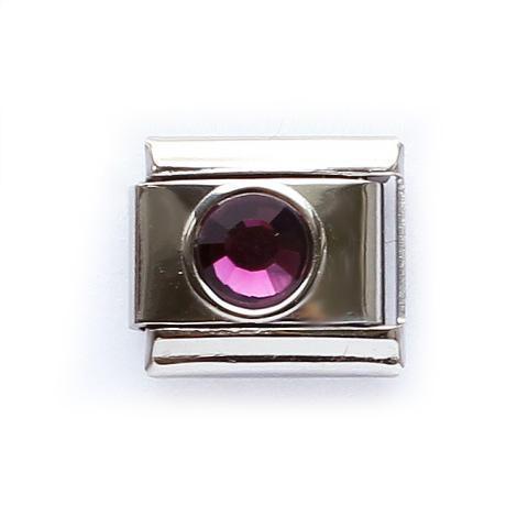 Звено для браслета с фиолетовым кристалликом