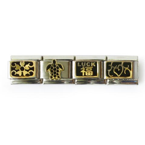 """В комплект входят звенья: с орнаментом, черепахой, китайским иероглифом """"Удача"""" и морозным узором."""