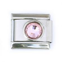 Звено браслета Italian Charm с розовым кристалликом