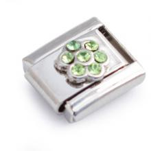 Звено браслета с зеленым цветочком из страз